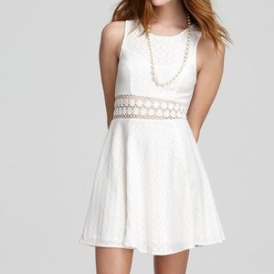 FREE PEOPLE Daisy Lace Waist Skater Dress White